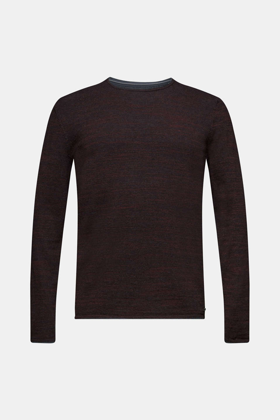 Jumper made of bi-colour blended cotton yarn, BORDEAUX RED, detail image number 6