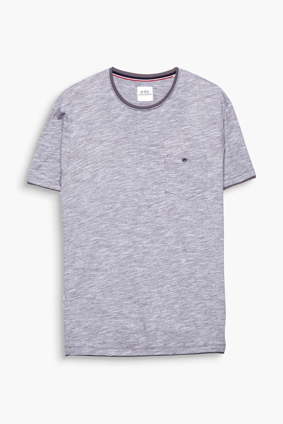 Your urban essential thanks to the cool layered look: 100% cotton T-shirt with melange stripes.