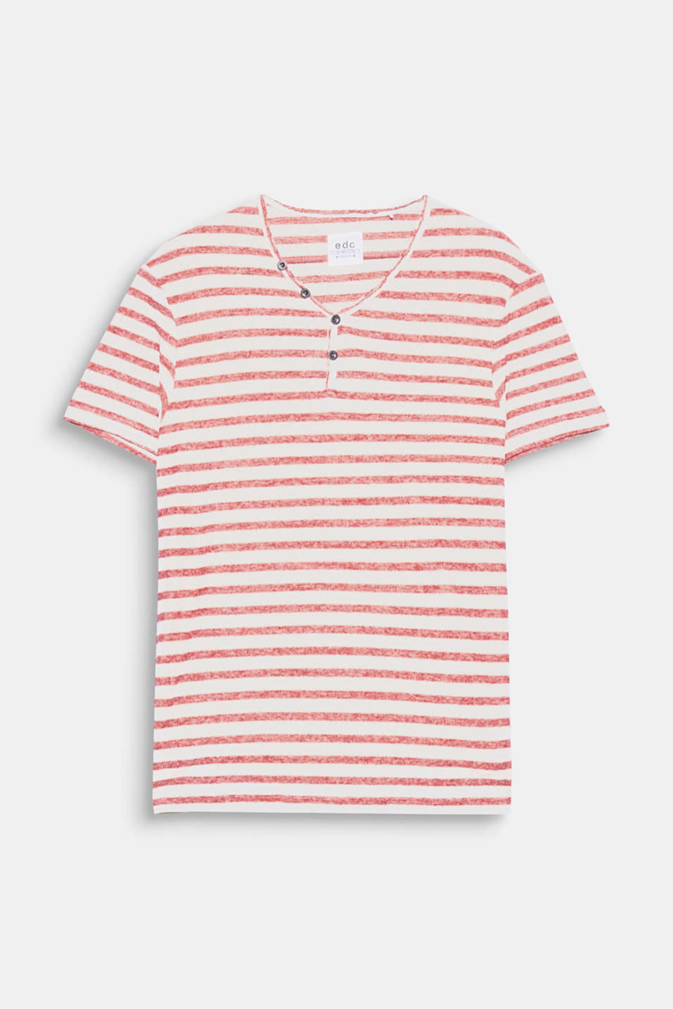 This melange Henley top in blended cotton with distinctive stripes is a fashion essential begging for wardrobe space