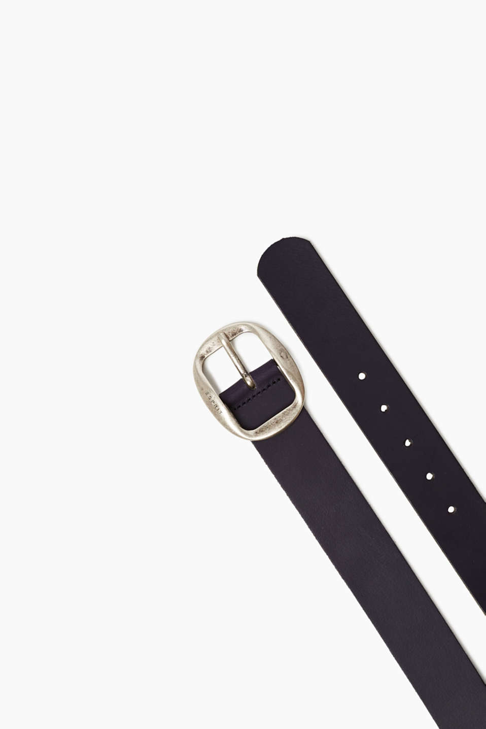 Esprit - Leather belt with a striking metal buckle