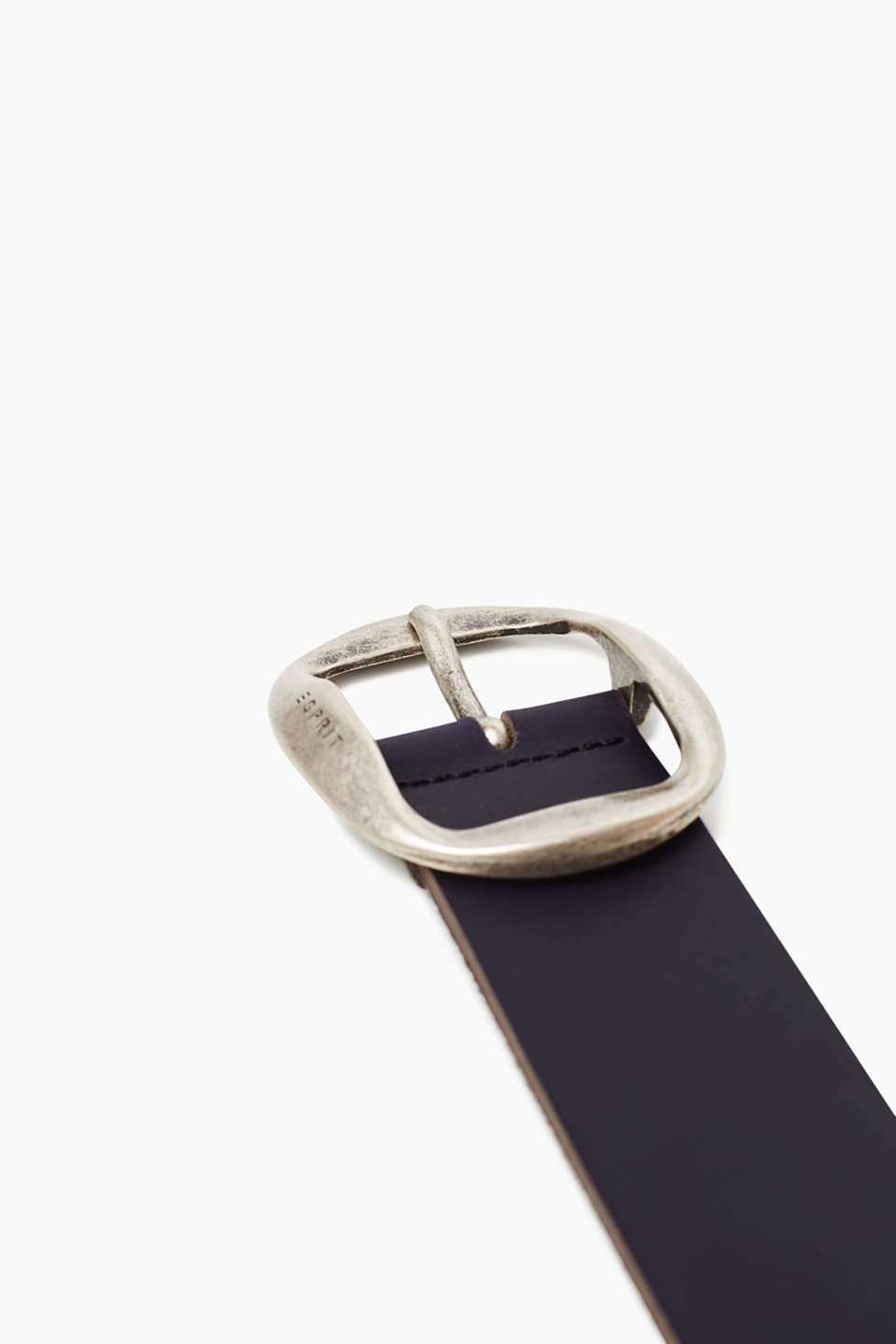 Leather belt with a striking metal buckle