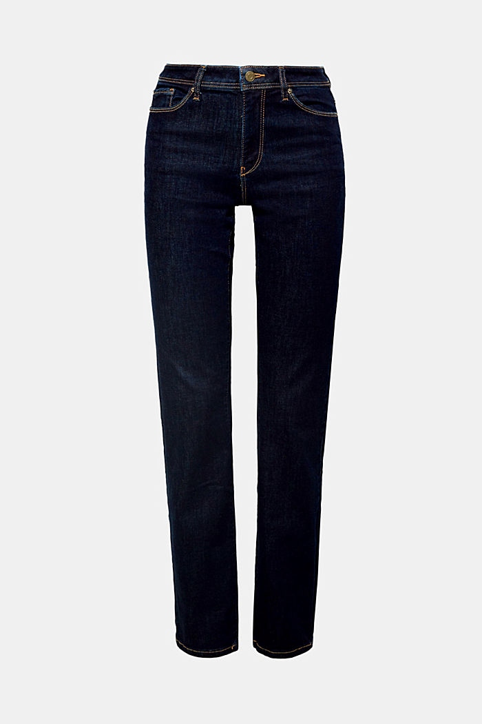 Super stretch jeans made of organic cotton, BLUE RINSE, overview