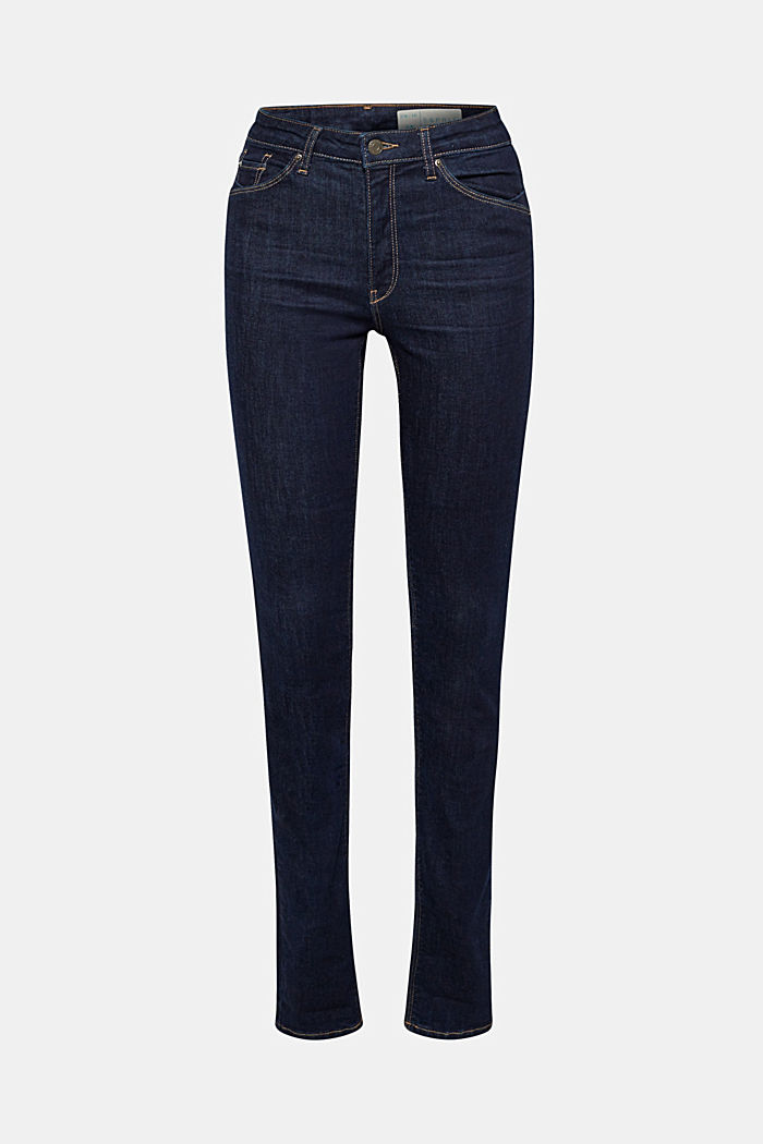 Stretch jeans with organic cotton, BLUE RINSE, overview