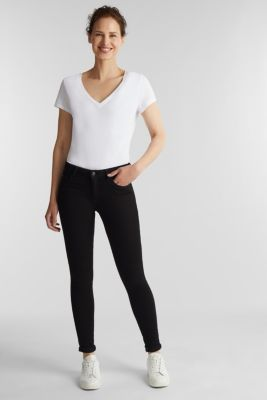 Stretch jeans in organic cotton, BLACK, detail