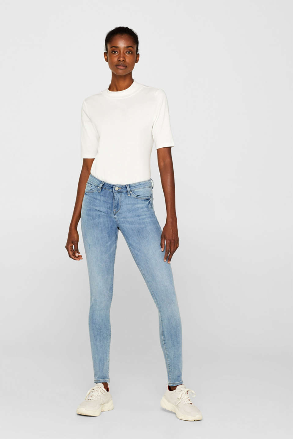 Esprit - Stretch jeans with vintage effects and organic cotton