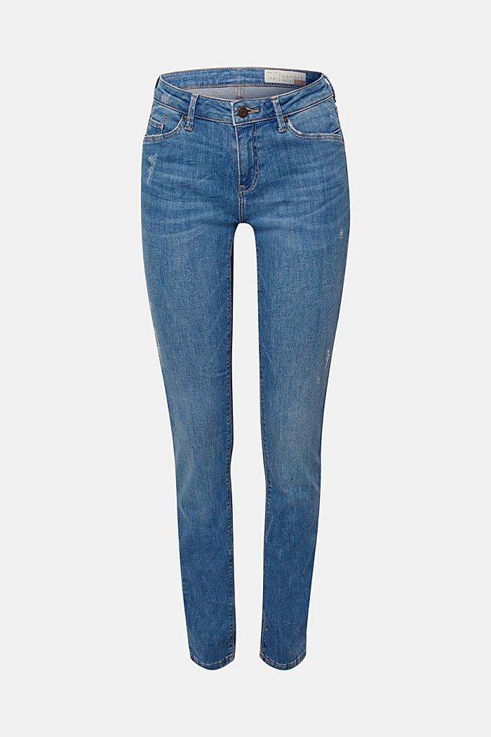 Stretch-Jeans mit Used-Effekten, recycelt