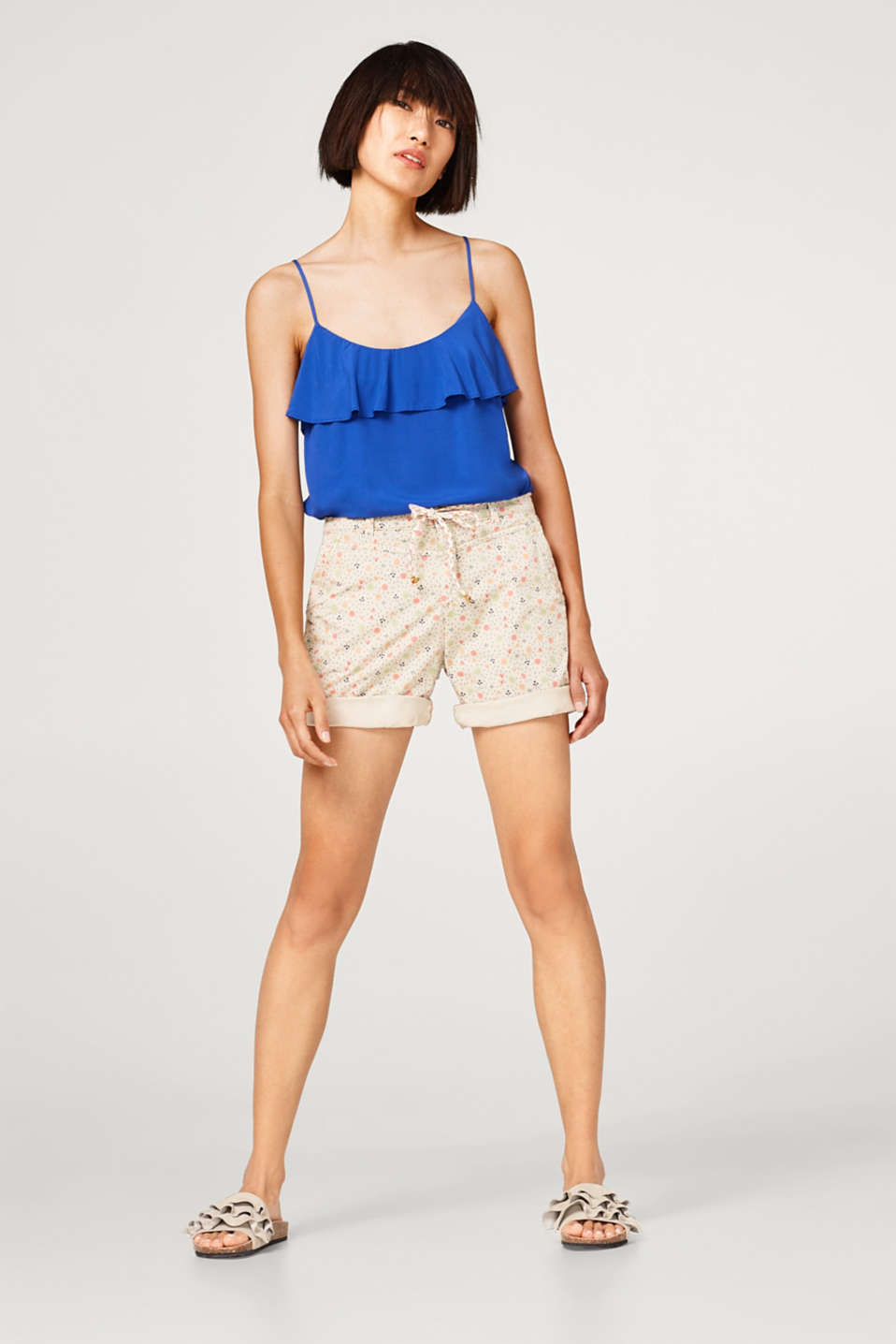 Esprit - Print short in stretch cotton with a tie-around belt