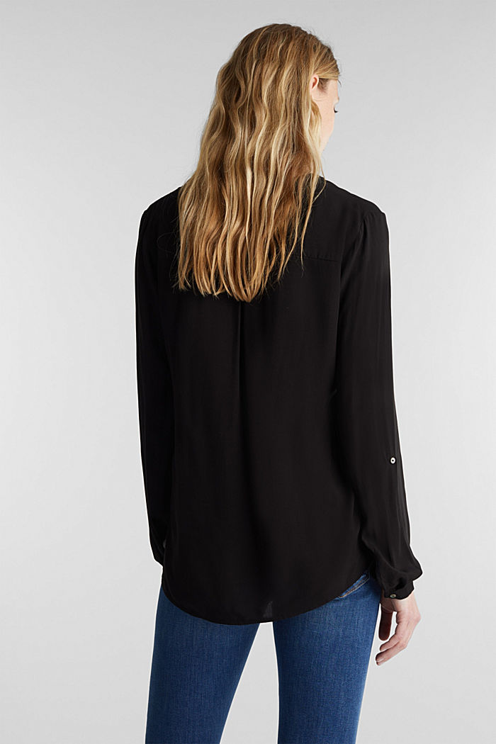 Henley blouse with turn-up sleeves, BLACK, detail image number 3