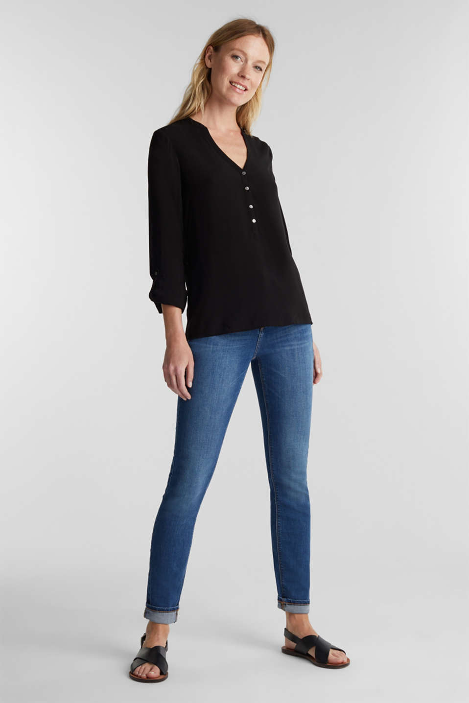 Henley blouse with turn-up sleeves, BLACK, detail image number 1