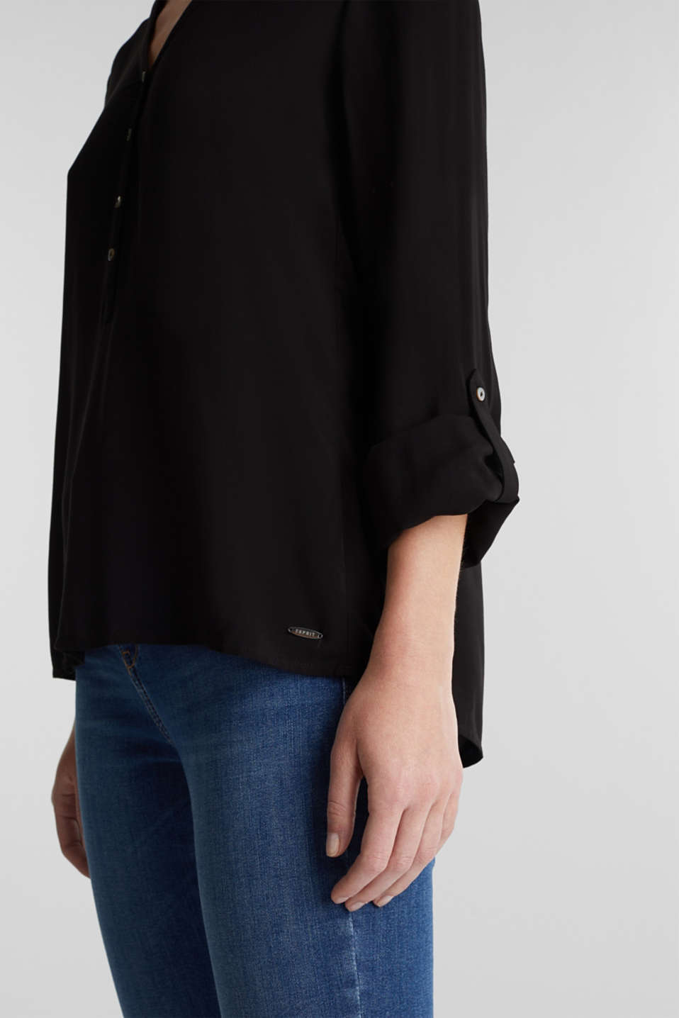 Henley blouse with turn-up sleeves, BLACK, detail image number 2