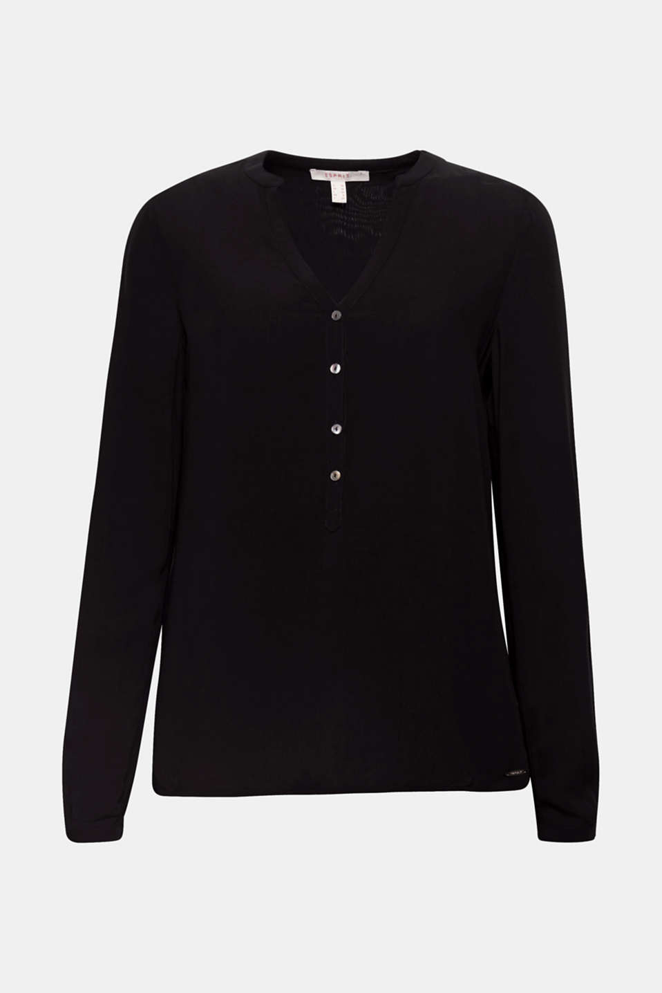 Henley blouse with turn-up sleeves, BLACK, detail image number 6