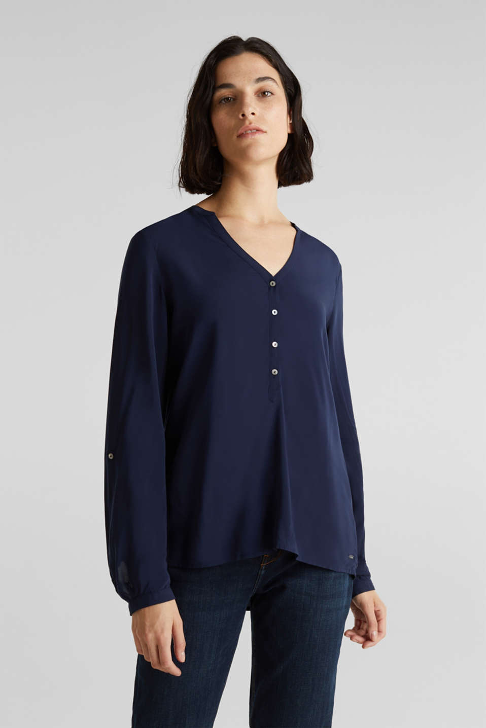 Esprit - Henley-Bluse mit Turn-up-Ärmeln