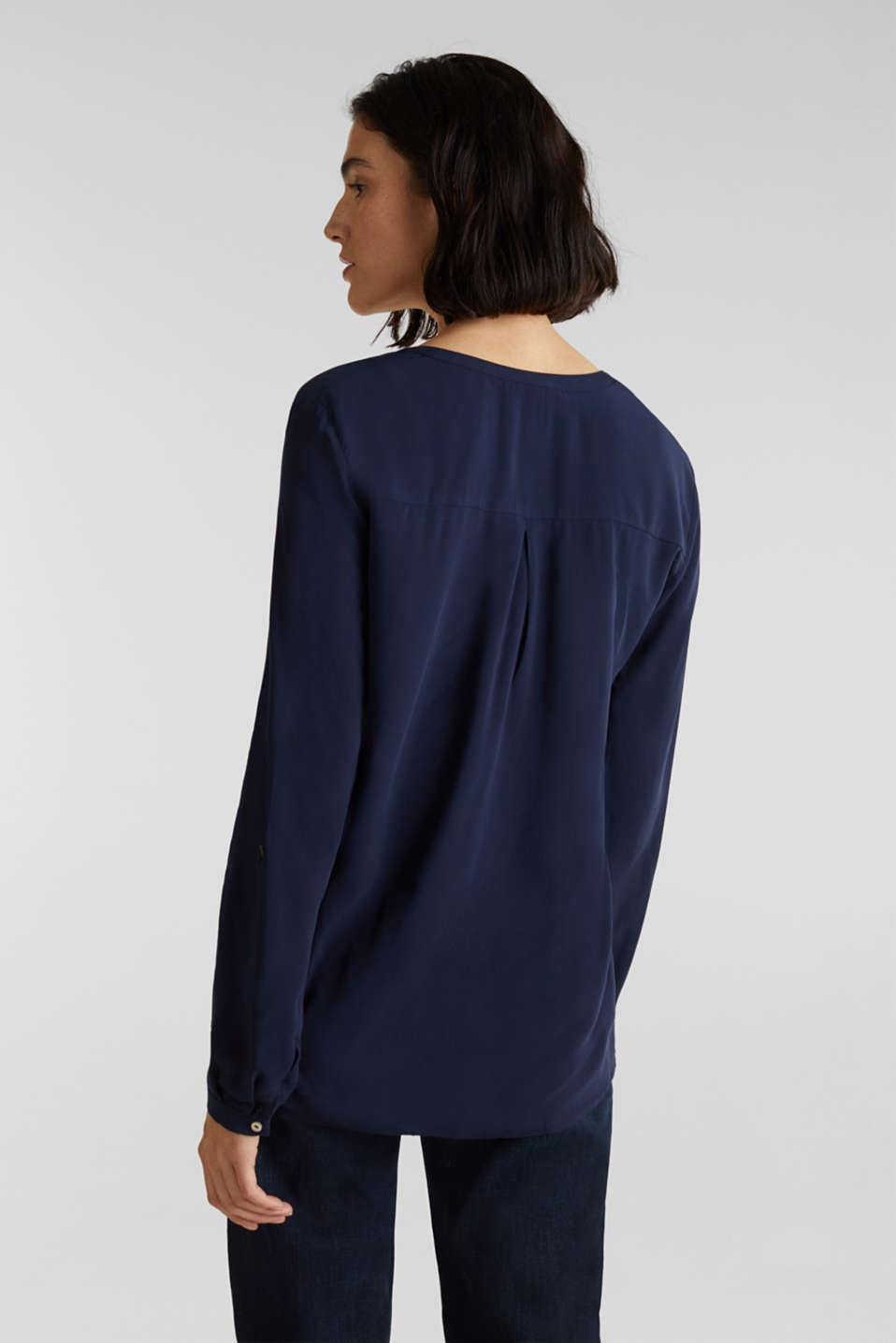 Henley blouse with turn-up sleeves, NAVY, detail image number 3