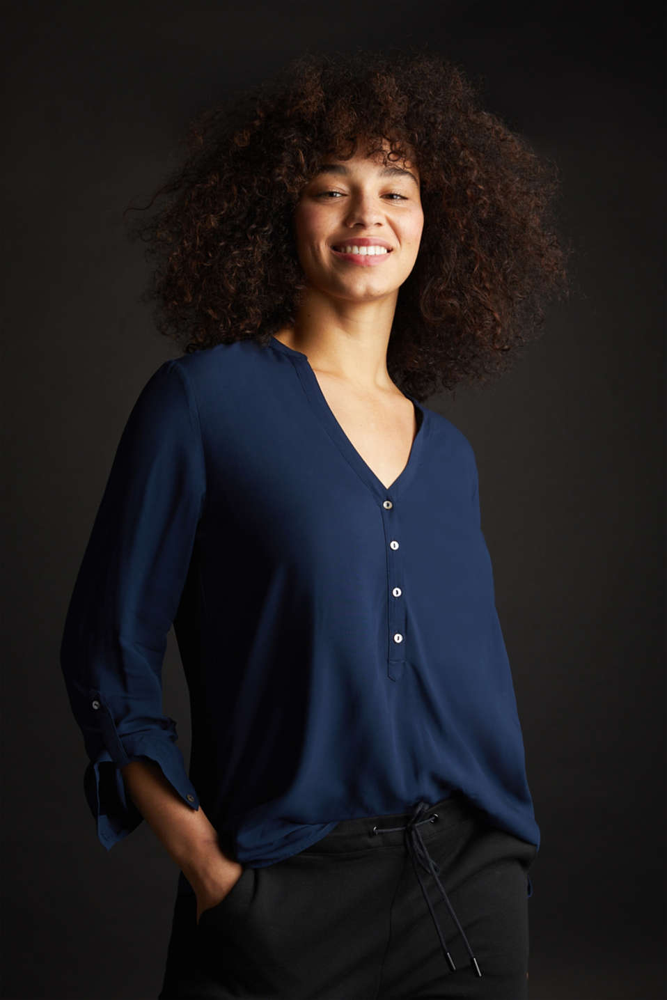 Henley blouse with turn-up sleeves, NAVY, detail image number 5
