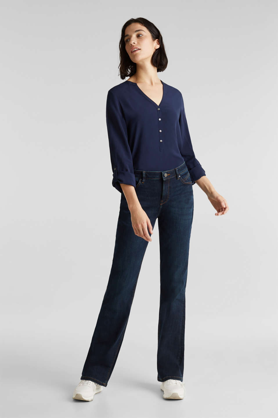 Henley blouse with turn-up sleeves