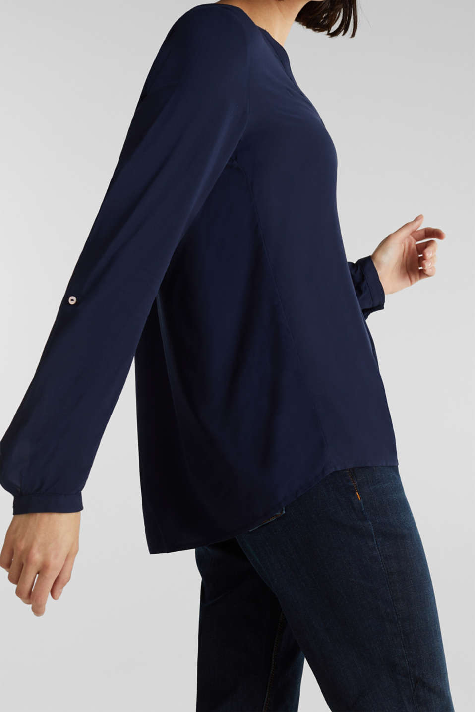 Henley blouse with turn-up sleeves, NAVY, detail image number 2