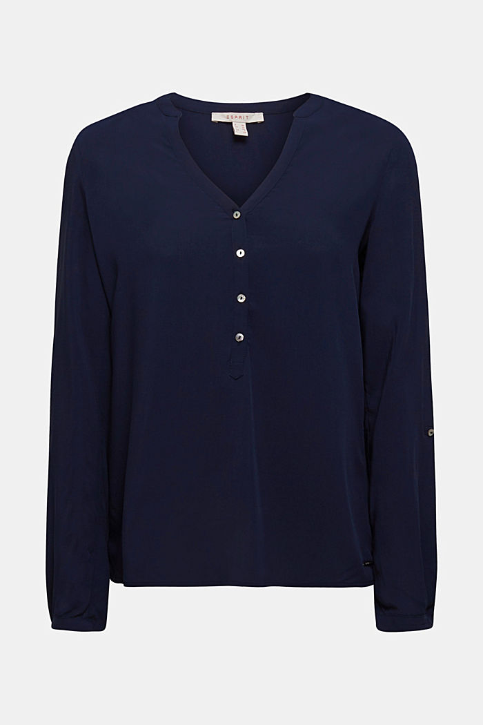 Henley blouse met oprolbare mouwen, NAVY, detail image number 6