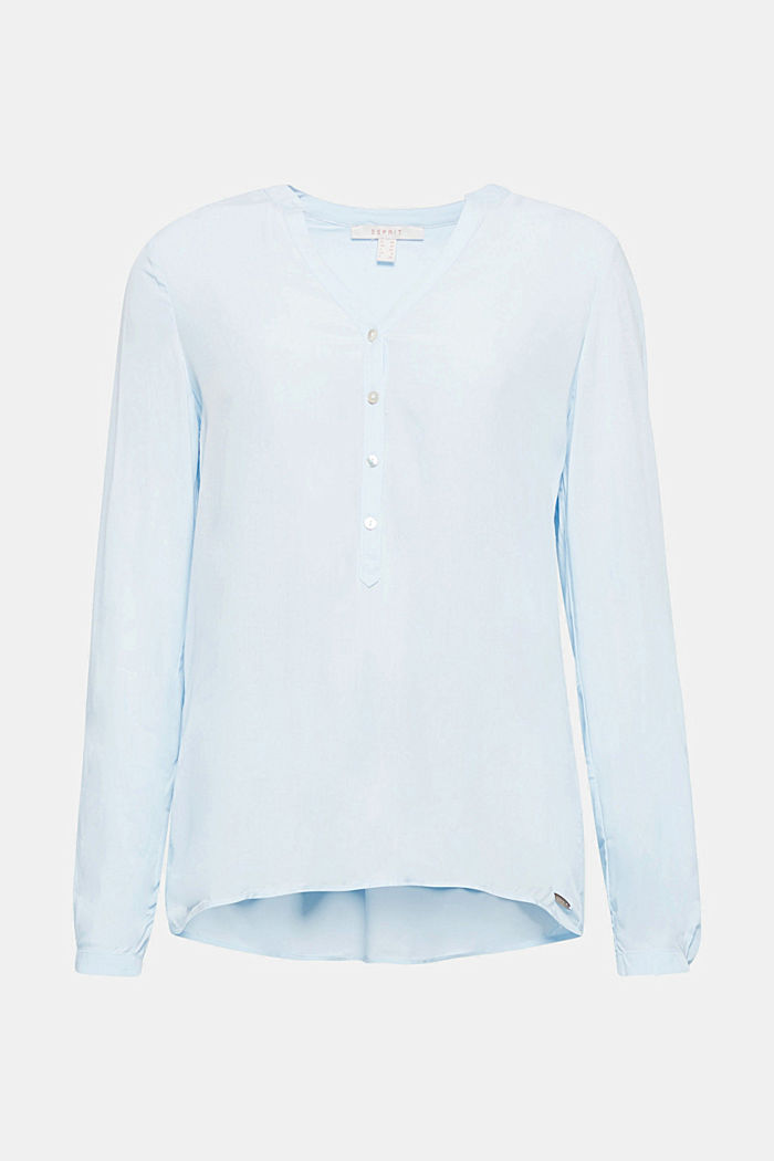 Henley-Bluse mit Turn-up-Ärmeln, LIGHT BLUE, detail image number 0