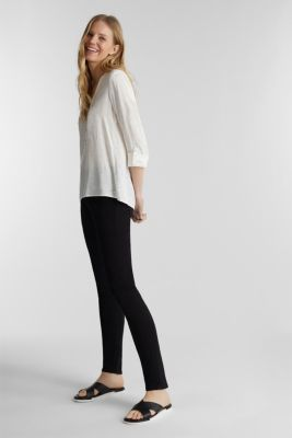 Henley blouse with polka dots and turn-up sleeves, OFF WHITE, detail