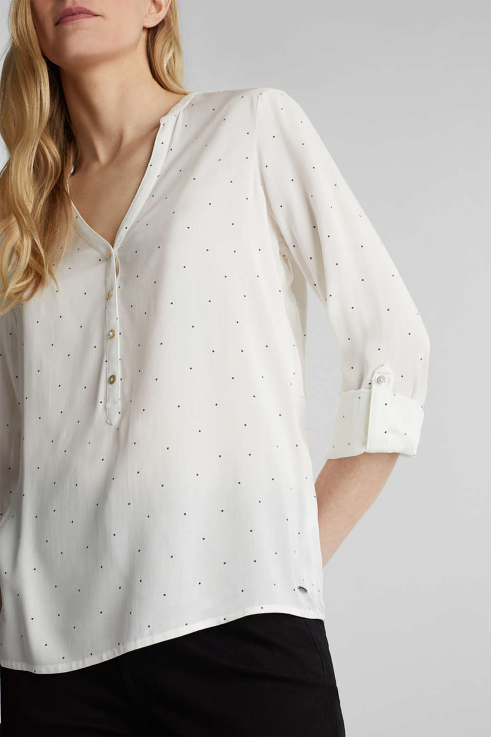 Henley blouse with polka dots and turn-up sleeves, OFF WHITE, detail image number 2