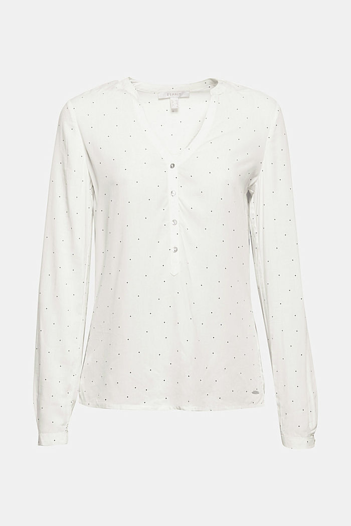 Polka dot blouse with turn-up sleeves, OFF WHITE, detail image number 5