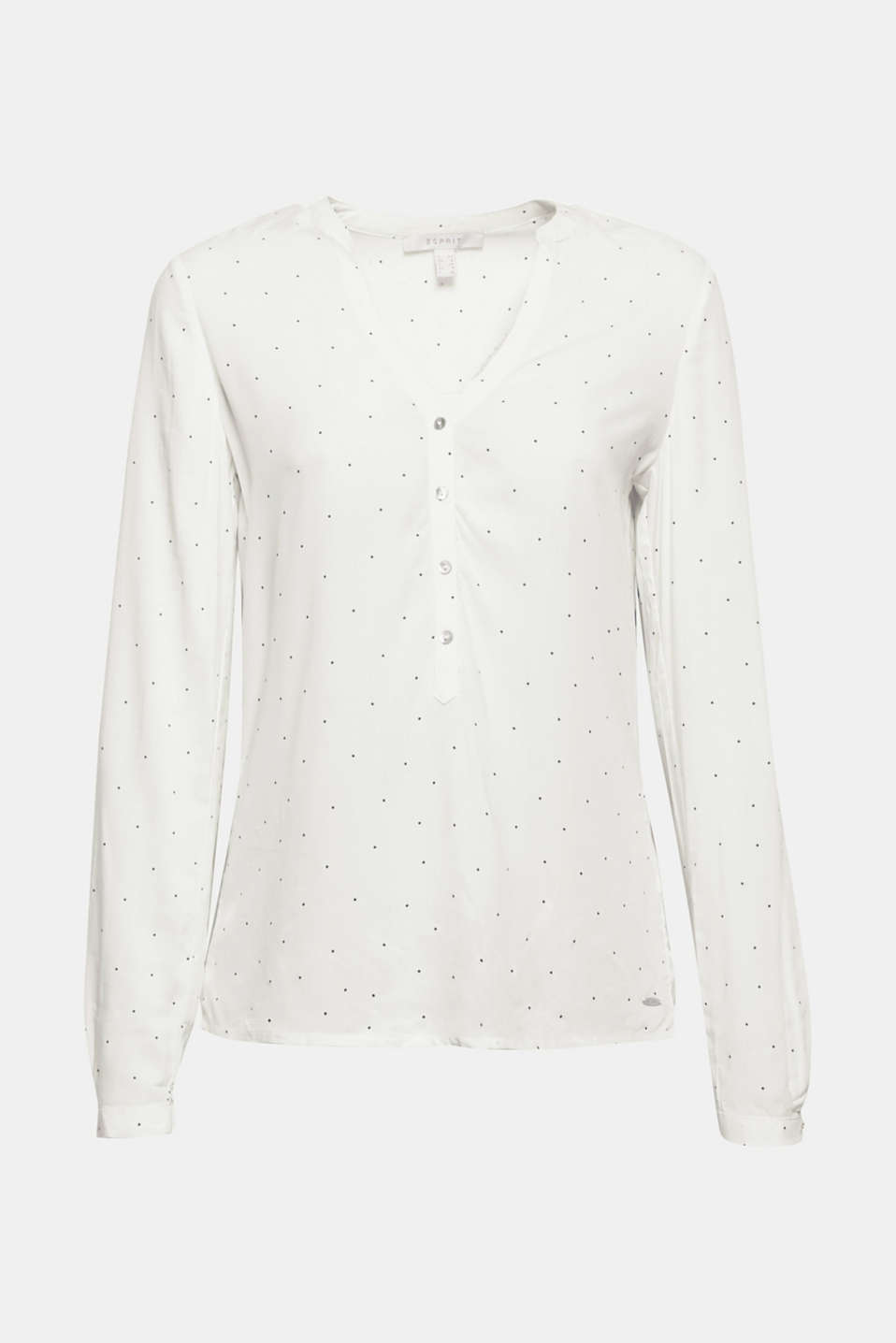 The perfect essential: This flowing Henley blouse with fine polka dots and adjustable turn-up sleeves can be worn on many occasions!
