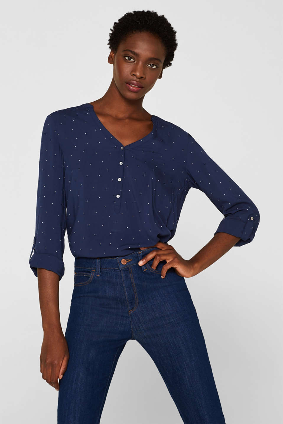 Henley blouse with polka dots and turn-up sleeves, NAVY, detail image number 0