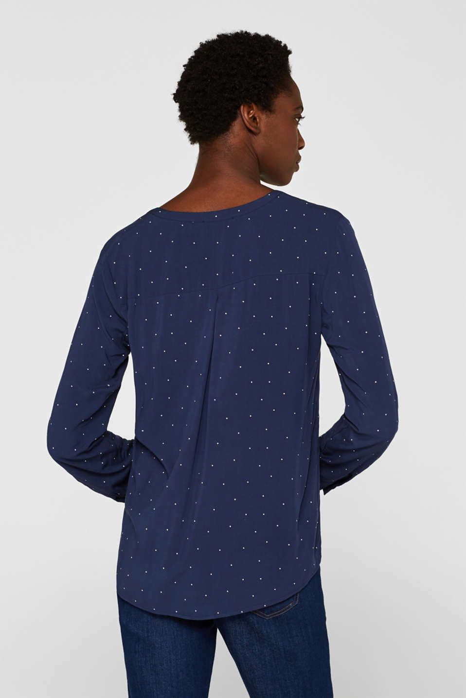 Henley blouse with polka dots and turn-up sleeves, NAVY, detail image number 3