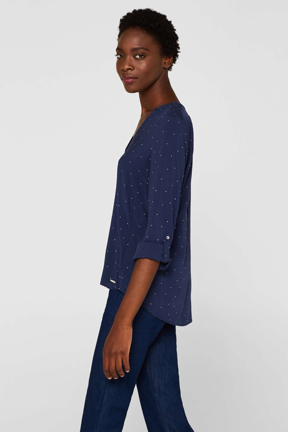 Henley blouse with polka dots and turn-up sleeves, NAVY, detail image number 6