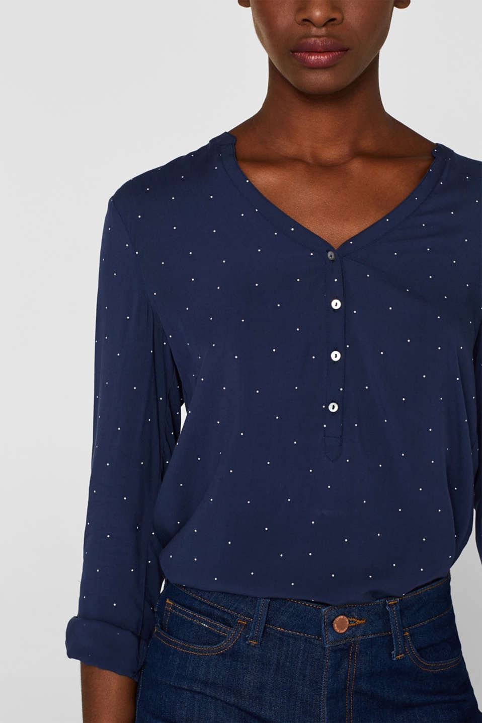 Henley blouse with polka dots and turn-up sleeves, NAVY, detail image number 2