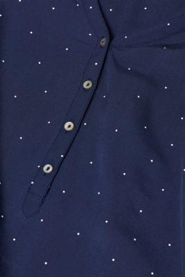 Henley blouse with polka dots and turn-up sleeves, NAVY, detail