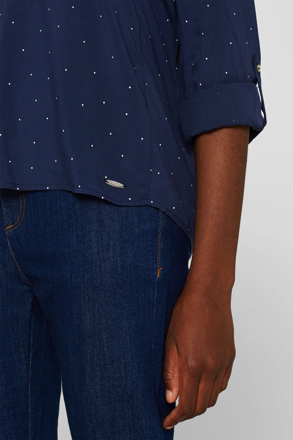 Henley blouse with polka dots and turn-up sleeves, NAVY, detail image number 5