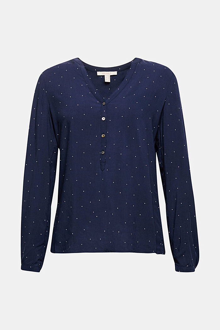 Polka dot blouse with turn-up sleeves