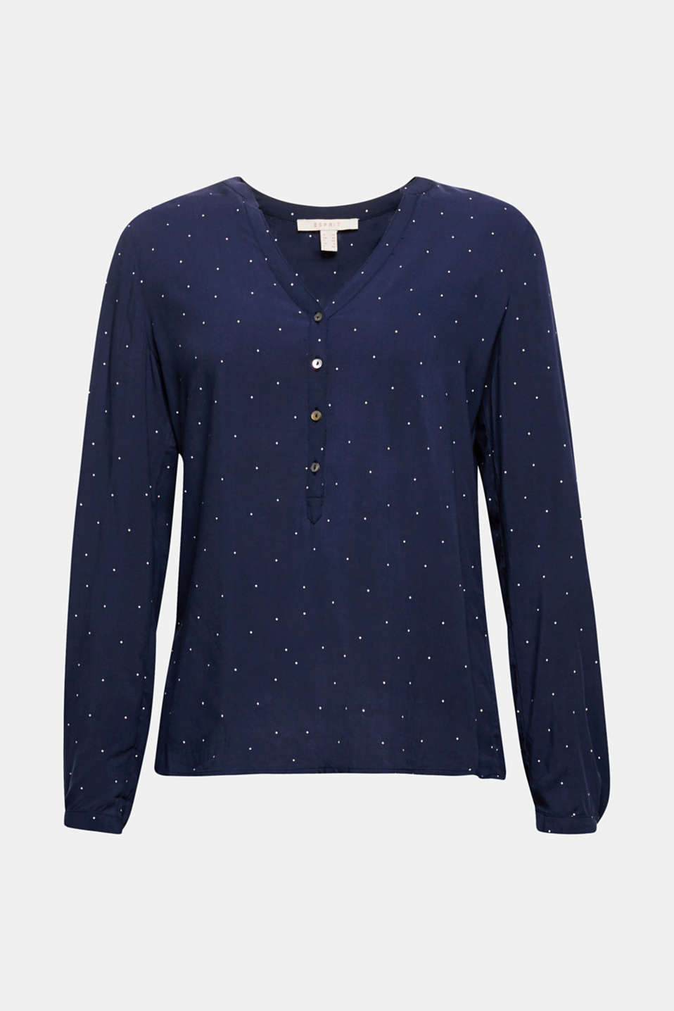 Henley blouse with polka dots and turn-up sleeves, NAVY, detail image number 7