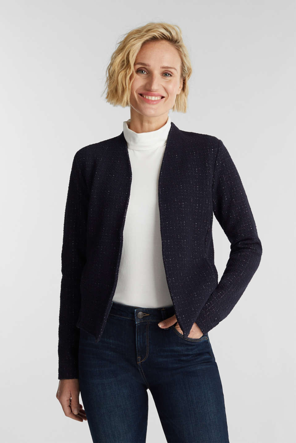 Esprit - Jersey cardigan with textured stripes