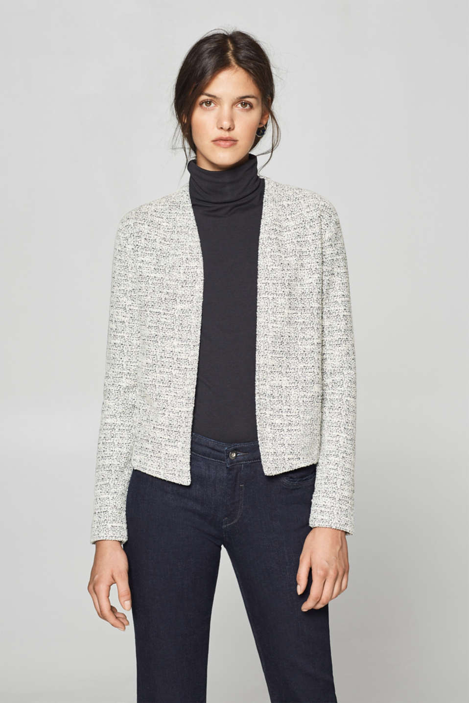 Esprit - Textured stretch jersey cardigan