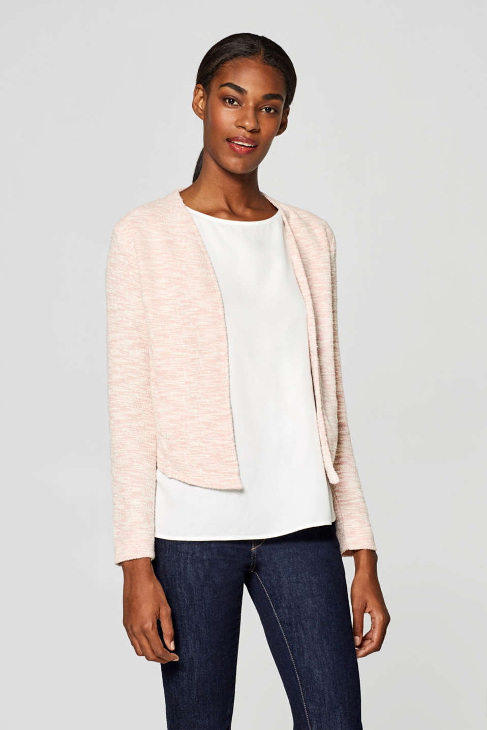 Esprit - Jersey cardigan with texture and stretch