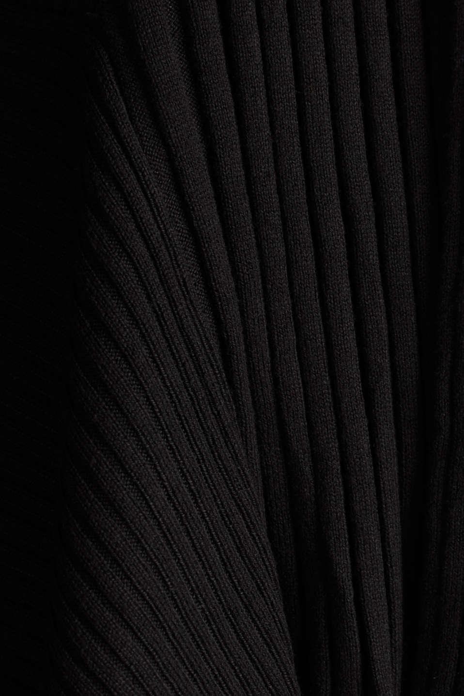 Open ribbed cardigan, BLACK, detail image number 4