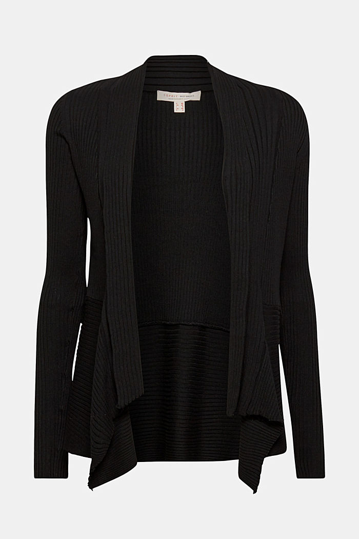 Recycled: open-front ribbed cardigan, BLACK, detail image number 0