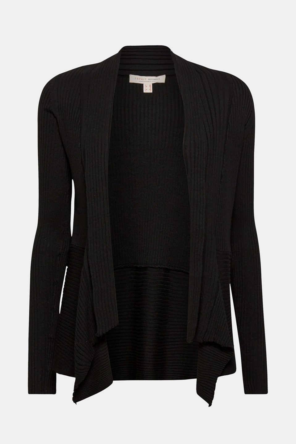 Open ribbed cardigan, BLACK, detail image number 5