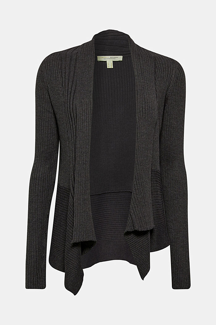 Recycelt: offener Ripp-Cardigan, DARK GREY, overview