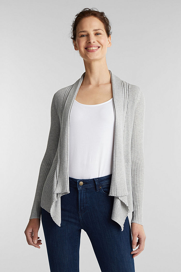Recycled: open-front ribbed cardigan, LIGHT GREY, detail image number 0