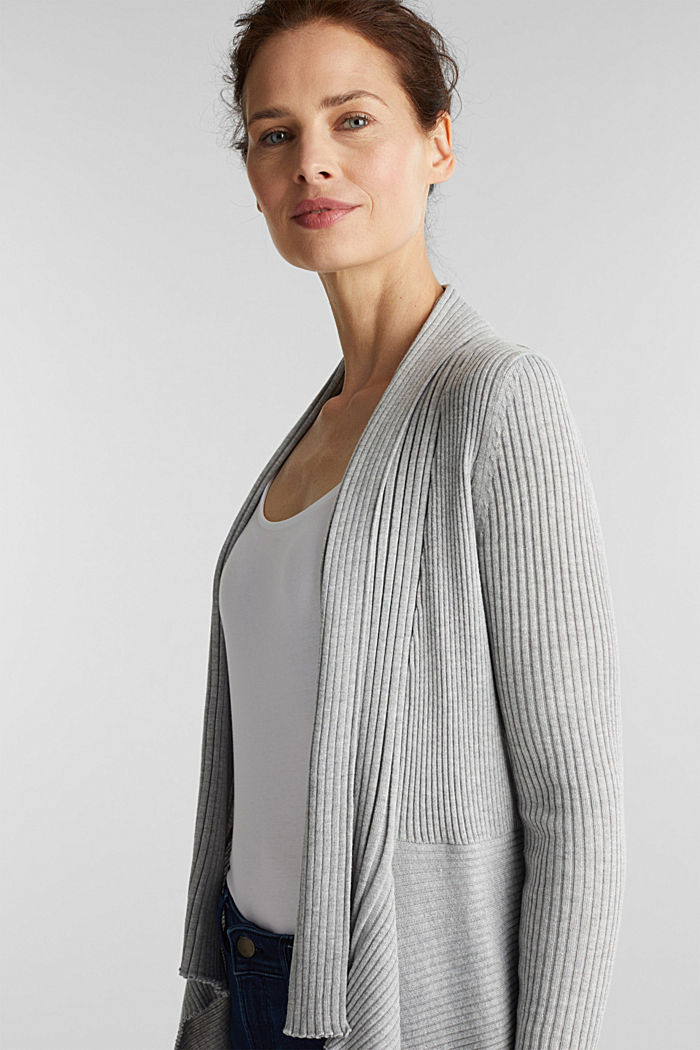 Recycelt: offener Ripp-Cardigan, LIGHT GREY, detail image number 1