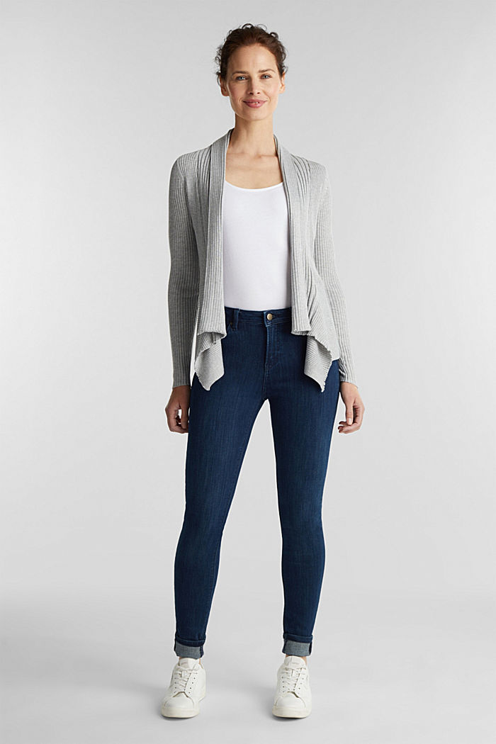 Recycled: open-front ribbed cardigan, LIGHT GREY, detail image number 1