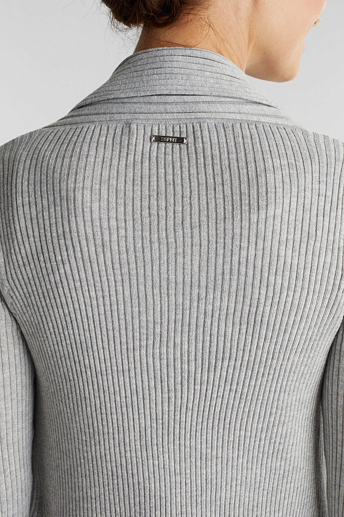Recycled: open-front ribbed cardigan, LIGHT GREY, detail image number 2