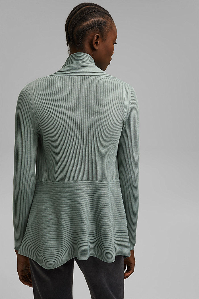 Recycelt: offener Ripp-Cardigan, DUSTY GREEN, detail image number 3