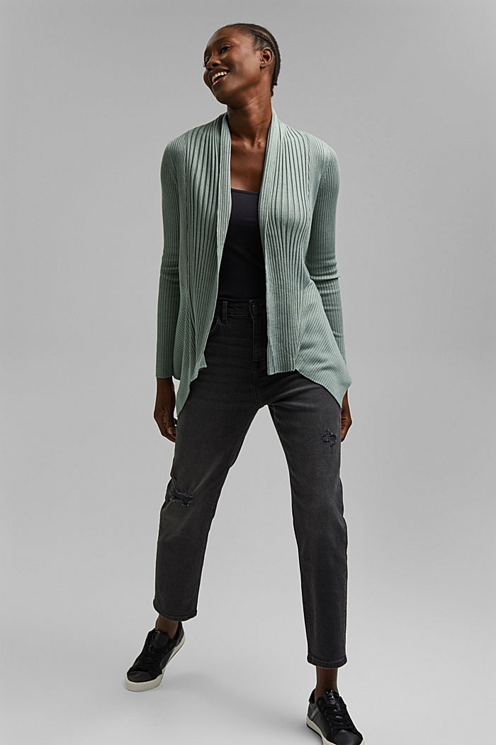 Recycelt: offener Ripp-Cardigan, DUSTY GREEN, detail image number 1