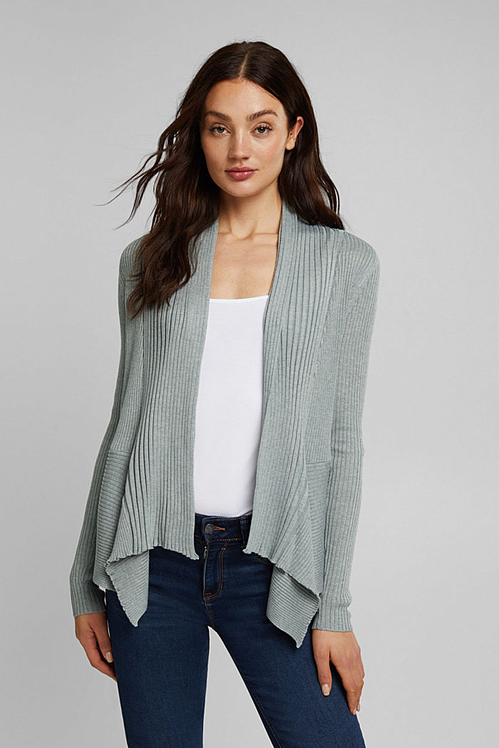 Recycelt: offener Ripp-Cardigan, DUSTY GREEN, detail image number 0