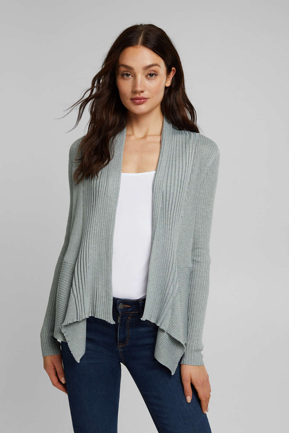 Esprit - Recycled: open-front ribbed cardigan