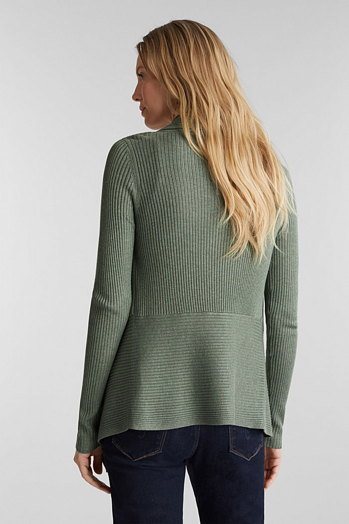 Recycled: open-front ribbed cardigan, KHAKI GREEN, detail image number 3